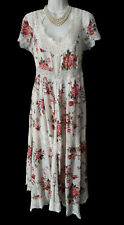 LAURA ASHLEY IVORY/PINK FLORAL 1930s EMPIRE BOHO STYLE MAXI GYPSY DRESS 14,16