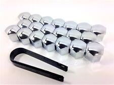 19mm Wheel Chrome Plastic Nut Bolt Covers Caps Inc. Removal Tool Set 20 Pcs.
