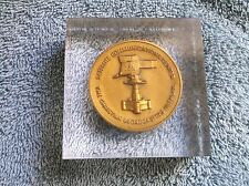1978 CHRISTIAN BROADCASTING SATELLITE COMMUNICATIONS MEDAL IN LUCITE PAPERWEIGHT