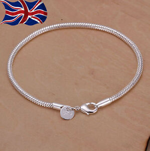"""925 Sterling Silver Snake Bracelet Chain Rope 3mm Ladies Charms  8"""" UK"""