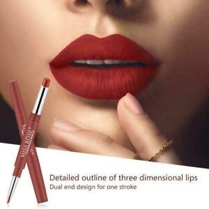 Double Head Matte Lipstick Lip Liner Pencil Pen Waterproof New Lips Brand F3U3
