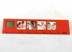 4 Pic Photo Frame Desktop Ruler w/Digital Clock, Choice of Color ~ Sweda #RT0101