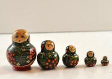 """5 Piece Russian Nesting Doll 2.75"""" Hand Painted Made In Russia"""