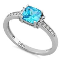 Melchior Jewellery Sterling Silver Cushion Blue Topaz CZ Ring Gift Boxed
