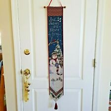 Holiday Tapestry Bell Pull Wall Art with Wooden Dowel and Tassel
