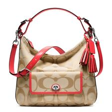 COACH SIGNATURE Cross body Light KHAKI PINK HOBO PURSE BAG COURTENAY 22392 Nwt