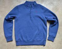 New Hackett Mens Zip Neck Sweatshirt Soft Fleece Inner Soho Blue Small BNWT
