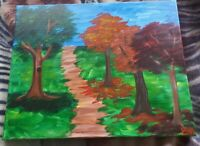 """20"""" x 16"""" Acrylic Painting on Canvas of Trees Titled """"Serenity"""" Painted by Em"""