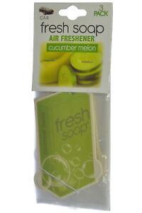Fresh Soap Car Air Freshener Cardboard Hanging Long Lasting, Cucumber Melon 3-PK