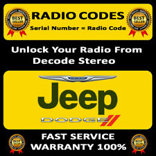 RADIO CODE JEEP WRANGLER STEREO T00AM T00BE CODES PIN UNLOCK DECODE FAST SERVICE