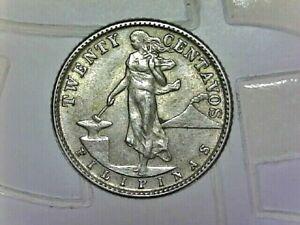 "1944 ""D"" Philippines 20 centavos--silver--Composition-- KM#182"