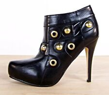 """Ankle Boots Faux Leather Gold Studded With 4.5"""" Heels Women Size 7.5"""