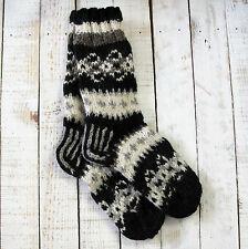 Funky Hand Knitted Winter Woollen Makalu Socks - Black & White