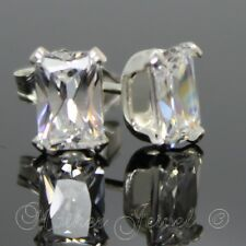 REAL SOLID 925 STERLING SILVER Emerald Cut Simulated Diamond 8mm Stud Earrings