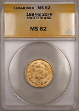 1894-B Switzerland 20 FR Francs Gold Coin ANACS MS-62