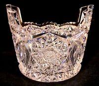 Large Bergen Premiere ABP BRILLIANT CUT GLASS CRYSTAL Ice Tub Bucket Tab Handle