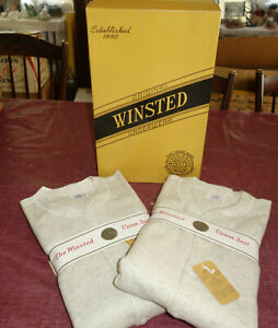 2 NEW RARE MEN'S GRAY UNION SUITS WINSTED HOSIERY WOOL BLEND UNDERWEAR (kf)