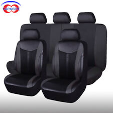 11 PCS Front & Rear Car Seat Covers Black - PU Leather Mesh Cushioned Breathable