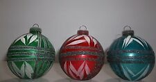 Vintage German Blown Glass Christmas Ornaments GLITTER Red BLUE Green Set Of 3