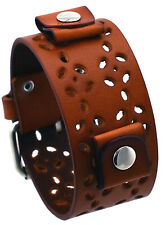 Nemesis PL-B Brown Flower Pattern Wide Leather Cuff Wrist Watch Band