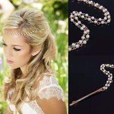 Boho Wedding Bridal Bridesmaid Pearl bead Head Chain Jewelry Headpiece Barrettes