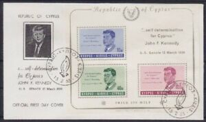Cyprus Nice FDC Block 3 John F.Kennedy 1965, First Day Cover