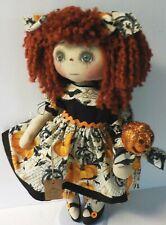 "PRIM ART DOLL Raggedy Ann Doll ""ABBY"" HALLOWEEN WITH HALLOWEEN PUMPKIN PIC"
