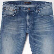 Mens Nudie THIN FINN Stretch Slim Straight Blue Jeans W34 L34