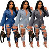 NEW Fashion Women Single Breasted Hole Belted Pockets Casual Long Denim Jumpsuit