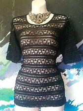 Black T-shirt - Layered Lace Round Neck Tshirt - Goth/Gothic/Emo/Boho - 10/12