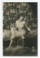 1920s Risque Nude French Deco RPPC Real Photo Postcard SEATED FLAPPER CUTIE