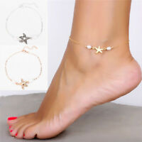 Exquisite Womens Gold Plated Starfish Ankle Chains Anklet Bracelets FootLDU