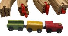 Wooden Train Track Bridge Engine and Train Cars Playset Brio Compatible EUC