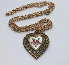 """Vintage Necklace 24"""" Heart Enamel Pendant Gold Tone"""