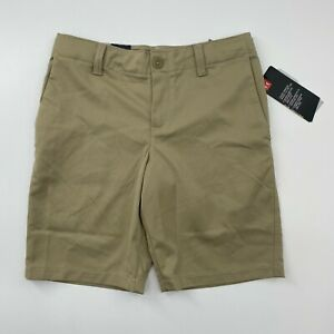 Under Armour Boy's Showdown Golf Shorts Khaki Adjustable Waist Size 10 12 16 18