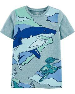 NWT Carter's KID Boys 5, 6, 8, 10 BIG SHARK TURTLE Jersey Tee Short Sleeve Blue