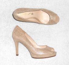 UNISA escarpins cuir travaillé beige doré P 40 = 39 TBE