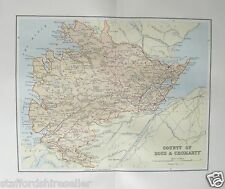 Antique Victorian Map c1890 County of Ross & Cromarty Scotland