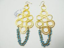 DEVON LEIGH Gorgeous 18k YG Plated Hammered Linked Circles Turquoise Earrings