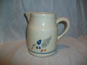 Roseville OH Pottery Country Goose Heavy Creamer Pitcher Blue Stripe