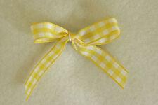 Narrow Yellow Gingham Dog Hair Bow Ribbon Accessory