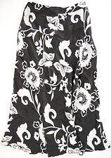 CHICO'S DESIGN 100% Silk Skirt Chico Sz. 0 (=XS 4) Black White Floral Tea Length