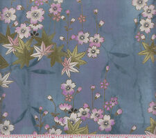 Hoffman Metallic Asian M7412 223G Flowers on Periwinkle Blue by the yard