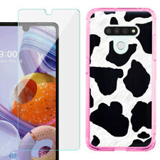 For LG Stylo 6 Slim Case (Pink), w/ Tempered Glass - Cow Skin Design