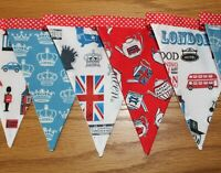 British Theme Bunting 2 metre Union Jack Fabric Banner Handmade