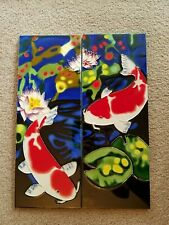 Set Of 2 Koi Fish Wall Tiles New In Box Unbranded. Beautiful Art !