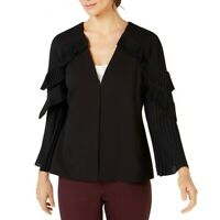 ALFANI NEW Women's Pleated-sleeve Collarless Blazer Jacket Top TEDO