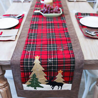 Christmas Red Plaid Table Runner Doilies Mats Dinner Party Home Decor 35x180cm