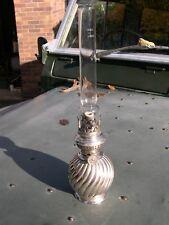 SILVER PLATED KOSMOS NIGHTLIGHT KEROSENE MINIATURE OIL LAMP WORKING WITH CHIMNEY