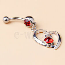 Crystals Open Heart Dangle 52mm Hm Externally Threaded Belly Ring 14G Red